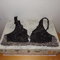 Victoria's Secret PINK Animal Print & Black Lace Plunge Bralette Bra size Small