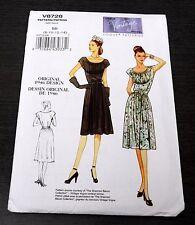 Vogue Model V8728 1940s Dress Repro Sewing Pattern 1946 Design Sz 8 10 12 14