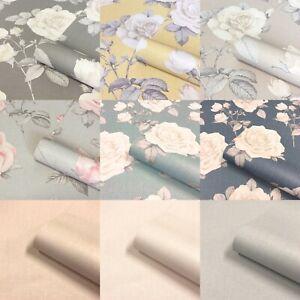 Belgravia Luxury Floral Flower Roses Textured Wallpaper Linen Effect Textured