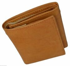 Tan RFID Blocking Leather Trifold Mens Wallet ID Credit Card ID Center Flap