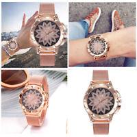 Women Rose Gold Crystal Flower Watches Ladies Quartz Stainless Steel Mesh Watch