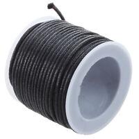 1X(10 mt sangle a cordon en coton cire noir 2 mm Z2A9)