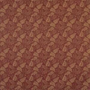 Designer Fabrics F701 54 in. Wide Dark Red And Gold Leaf Floral Heavy Duty Cr...