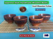NEW Japanese Style Wooden Rice Bowls Dinner Set Handmade - 4 pcs/set (B152)