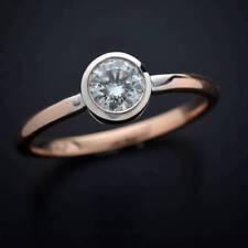 0.55 Ct Round Two Tone Moissanite Engagement Wedding Ring 9K White / Rose Gold