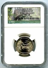 2011 D CHICKASAW QUARTER NGC MS68 UNCIRCULATED BUSINESS STRIKE EARLY RELEASES