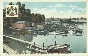 Wilmington DE Orchard 11th St Bridge Looking Up Brandywine Creek 1920 Postcard
