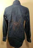 Harley Davidson Womens Sz S Denim Shirt Embroidered Wings Blue Jeans Snap Button
