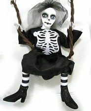 Goth Girl Doll on Swing Skeleton Costume Hanging Halloween Decoration Prop 24""