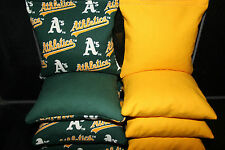 Rare! 8 Cornhole Beanbags made w Oakland A'S Fabric Ace Reg Bags