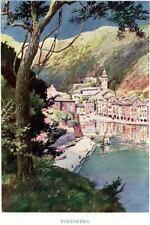 Portofino: Panorama. Golfo del Tigullio. Stampa Antica + Passepartout. 1908