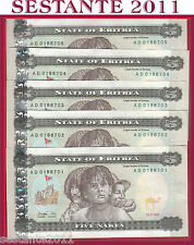 ERITREA - 5 NAFKA 1997 5 notes running number - P. 2 - FDS / UNC
