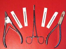 PROFESSIONAL BODY PIERCING TOOL KIT SET FORCEPS & CBR RING PLIERS NEEDLES STEEL