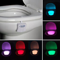 8 Color Toilet Night Light LED Motion Activated Sensor Bathroom bowl Seat Lamp