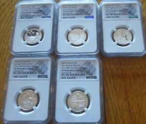 2019 S Silver Proof 5 Quarters NGC PF MS 70 Ultra cameo