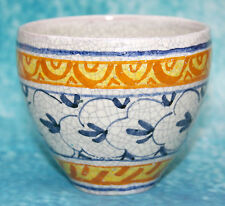 Bonne vintage studio art pottery raku crackle glaze bowl en blues jaunes signé
