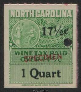 NORTH CAROLINA Wine Revenue NC W57S red SPECIMEN ovpt., security punch, VF