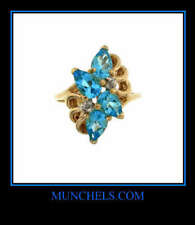 With Accent Diamonds Ring 14K Gold London Blue Topaz