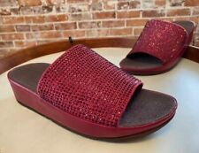 FitFlop Berry Pink Ginny Glitz Bling Crystals Slides Comfort Sandal 8 39 New