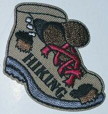 Hiking Boot Iron On Embroidered Patch Shoelace