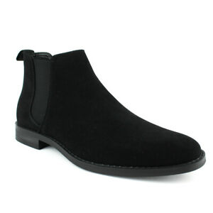 Men's Ankle Dress Boots Slip On Almond Round Toe Leather Chelsea Jaxson B1851