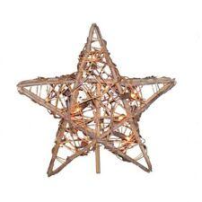 New Kurt Adler 10 Light Indoor Rattan Natural Star Treetop Free Shipping