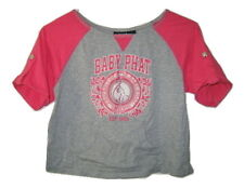 BABY PHAT Studded Cat logo Gray Pink Short T Tee Shirt Top womens S Small