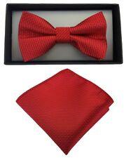 Fliege + Einstecktuch Schleife Smokingfliege Binder de Luxe 401 rot Krawatten