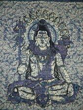 Couverture indienne Tenture Shiva bleu 230x210cm