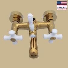 Tub Faucet Part PVD Brass Cross Handle Porcelain   Renovator's Supply