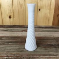 Hoosier Quilted Criss Cross Pattern Milk Glass Vase K3