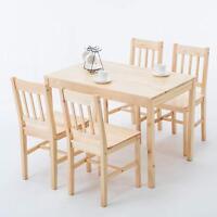 Modern 5 Piece Pine Wood Dining Set Rectangular Kitchen Dining Room Furniture
