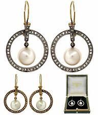Antique 1920 Circular 18K Yellow Gold Rosecut Diamond Pearl Dangle Drop Earrings
