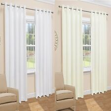 Pair of Ready Made Lined Voile Eyelet Ring Top Curtains. Cream Or White