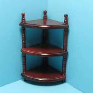 Dollhouse Miniature Wood 3 Tier Corner Shelf Unit Mahogany WF137