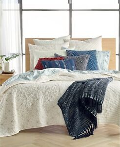 Lucky Brand Sashiko 100% Cotton Handcrafted Quilt - TWIN - Ivory