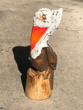 12� White Bro Pelican On Piling Hand Carved Wood Tropical Sculpture Bird Decor