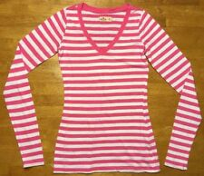 Hollister Women's Pink & White Striped Long Sleeve V-Neck Shirt - Size: XS