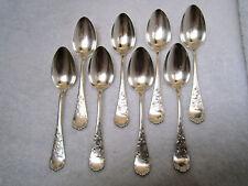 """8 Victoria No. 80 by  Wood & Hughes N.Y./NY  5 5/8"""" Sterling teaspoons No mono"""