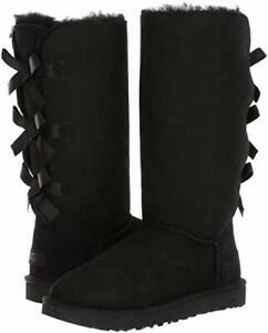Women's Shoes UGG BAILEY BOW TALL II Sheepskin Boots 1016434 BLACK