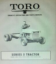 TORO Series 5 Riding Lawn Mower Garden Tractor Owner & Parts Manual 56pg 1961