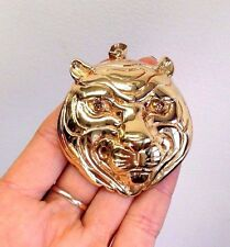 Fabulous! Large 14K Yellow Gold Tiger Head Chocolate Brown Diamond Eyes Pendant