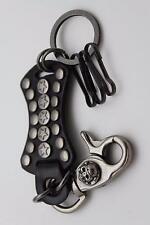 Men Black Leather Silver Key Chain Ring Holder Texas Lone Star Jeans Skull Face