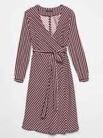 Banana Republic Faux Wrap Dress NEW Burgundy White Stripe NWT MSRP $89 SZ 0,2,6