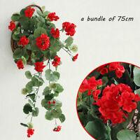 Hanging Wall Artificial Fake Silk Wisteria Garland Flower Rattan Basket Plant