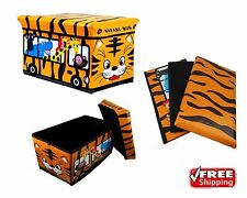 Juguete de Almacenamiento Acolchado Niños Caja Asiento Animales Safari Bus