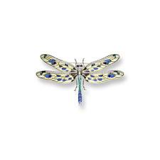 Nicole Barr Enamel Sterling Silver Brooch - Pendant Yellow Dragonfly Sapphires