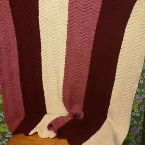 Vintage Pink Purple White Stripe Knitted Crochet Wool Blanket / Throw