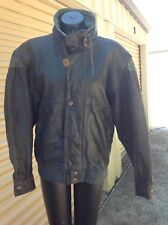 M. Julian Distressed Black Leather Jacket  size 40 with green accents