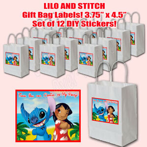 """Lilo and Stitch DIY Stickers ONLY Favors Gift Bag Labels 3.75"""" x 4.75""""  -12 pcs"""